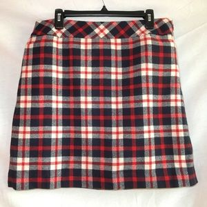 NWT Talbots wool blend navy red plaid skirt 14P